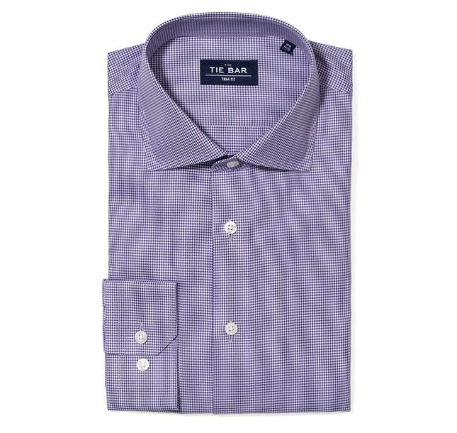 Petite Houndstooth Purple Non-Iron Dress Shirt