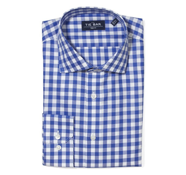 Large Gingham Textured Classic Blue Non-Iron Dress Shirt