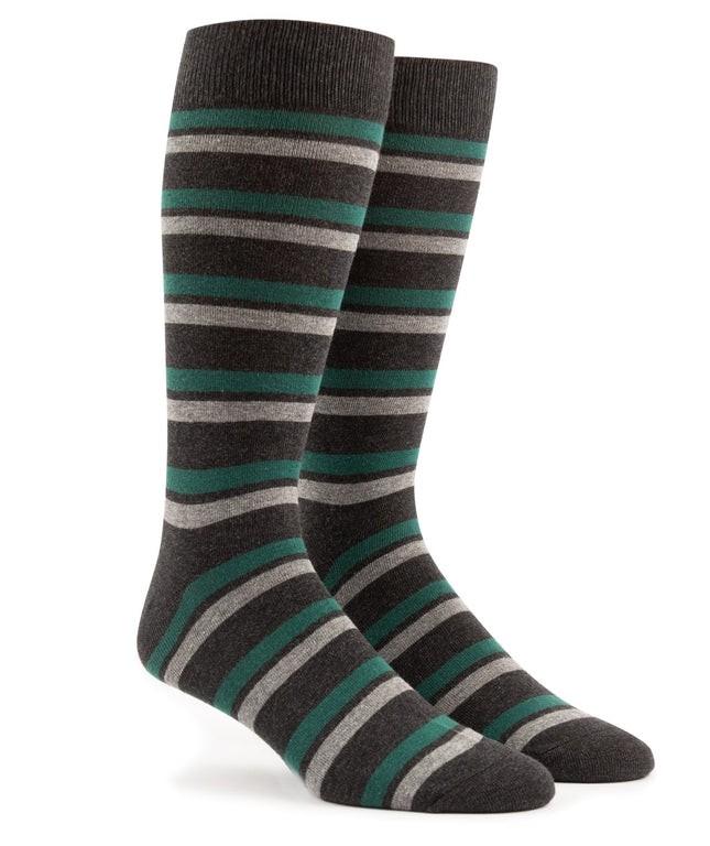 Contrast Stripe Charcoal Dress Socks