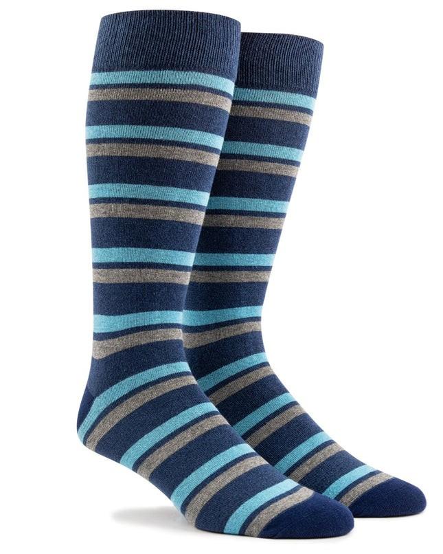 Contrast Stripe Navy Dress Socks