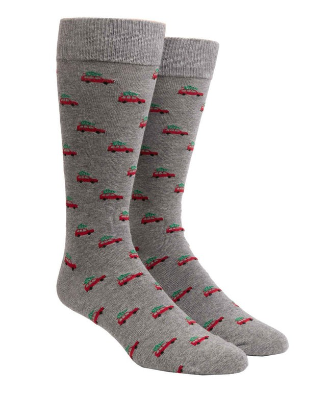 Tree Outing Charcoal Dress Socks