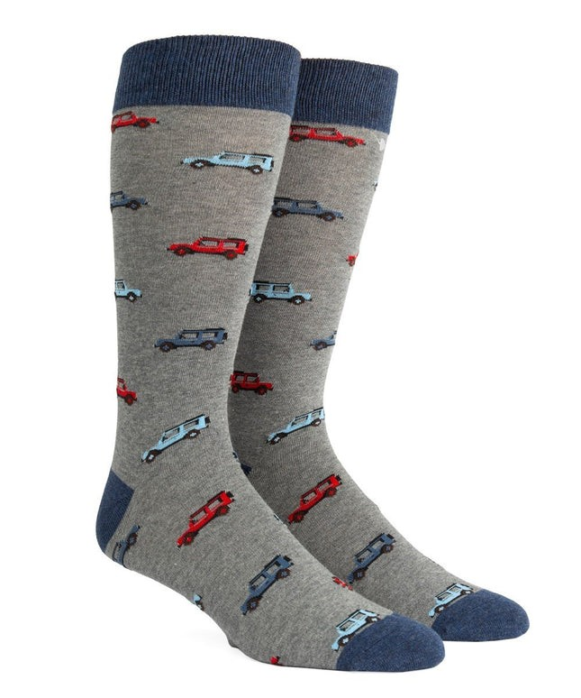 Vintage Cars Blue Dress Socks