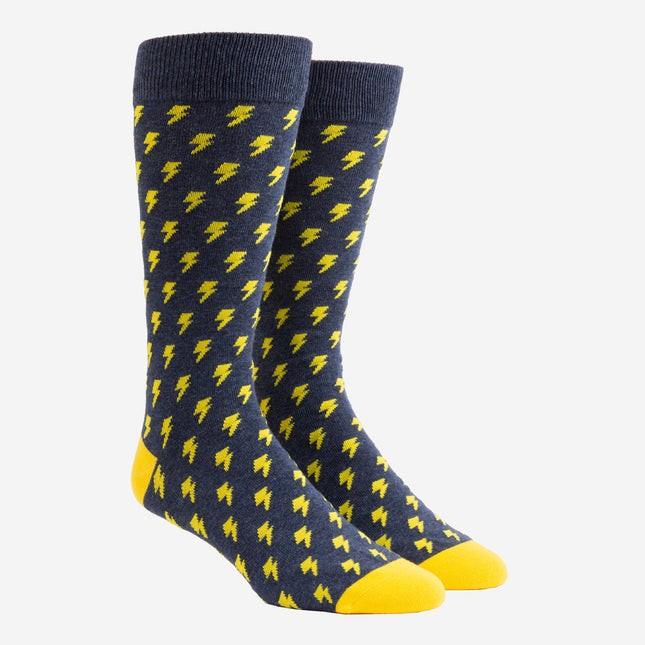 Lightning Bolt Navy Dress Socks