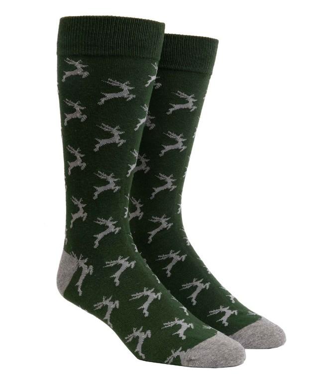 Jumping Reindeer Hunter Green Dress Socks