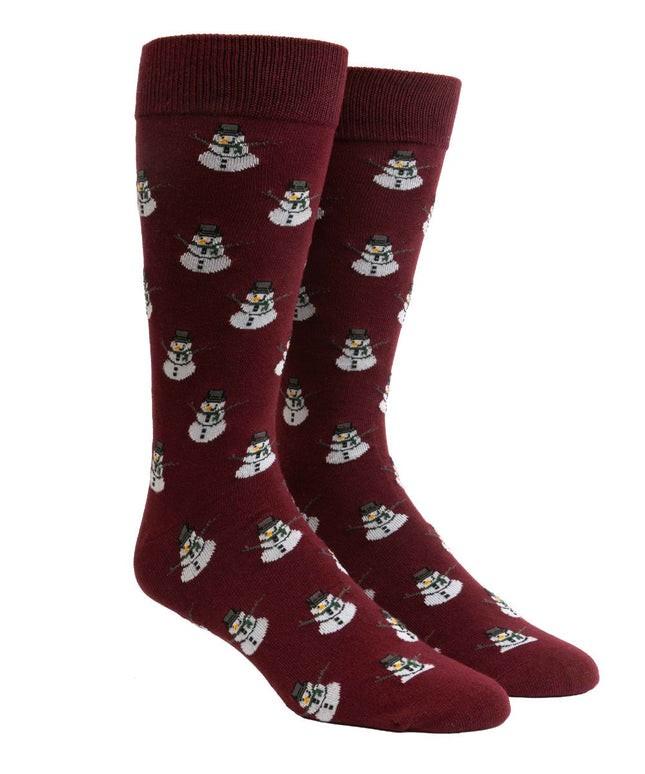 Snowman Burgundy Dress Socks