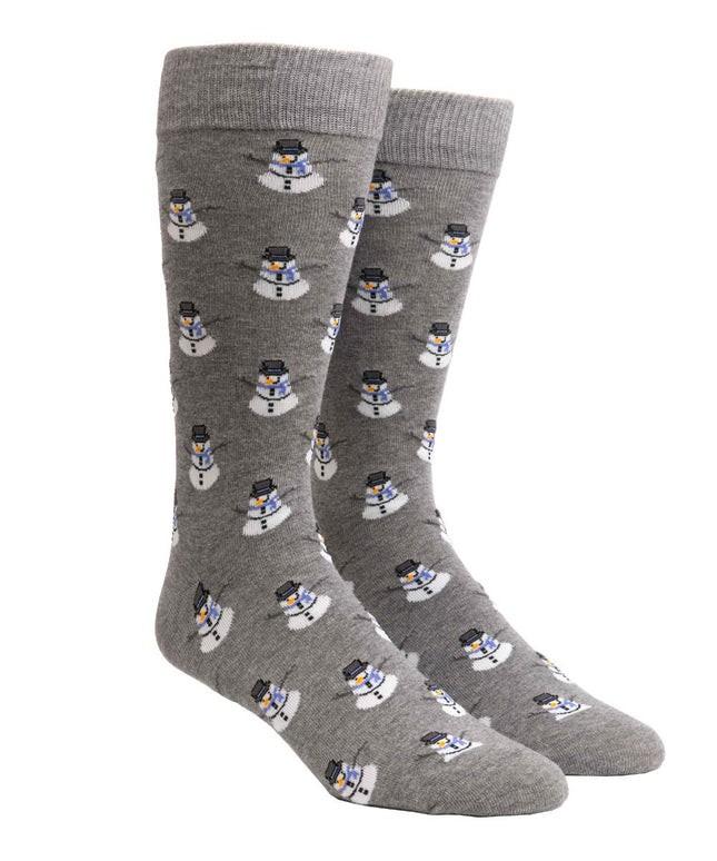 Snowman Charcoal Dress Socks
