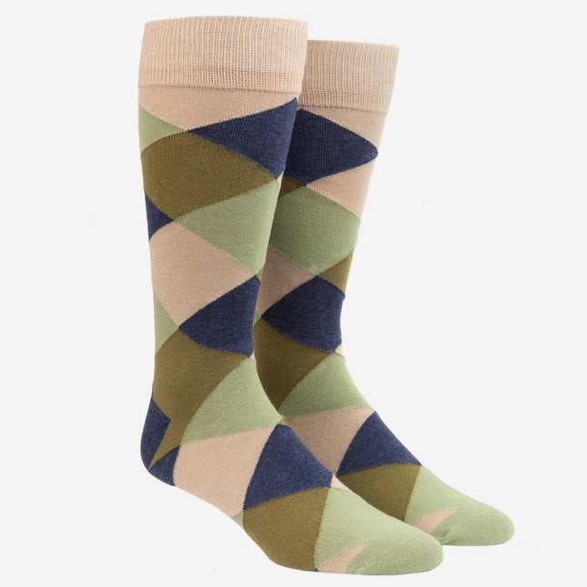Rohrer Plaid Olive Green Dress Socks
