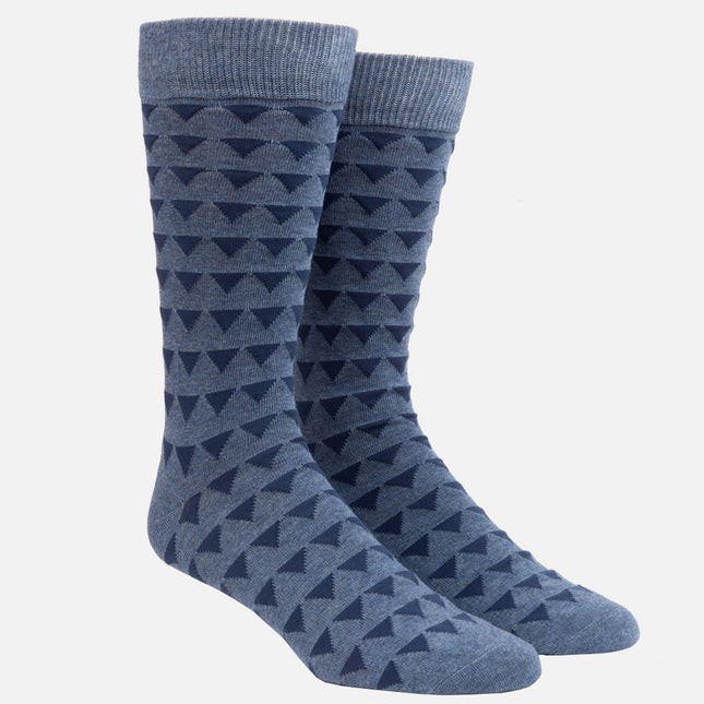 Triangle Geo Slate Blue Dress Socks