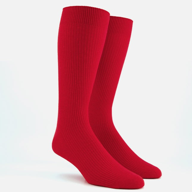 Ribbed Red Dress Socks
