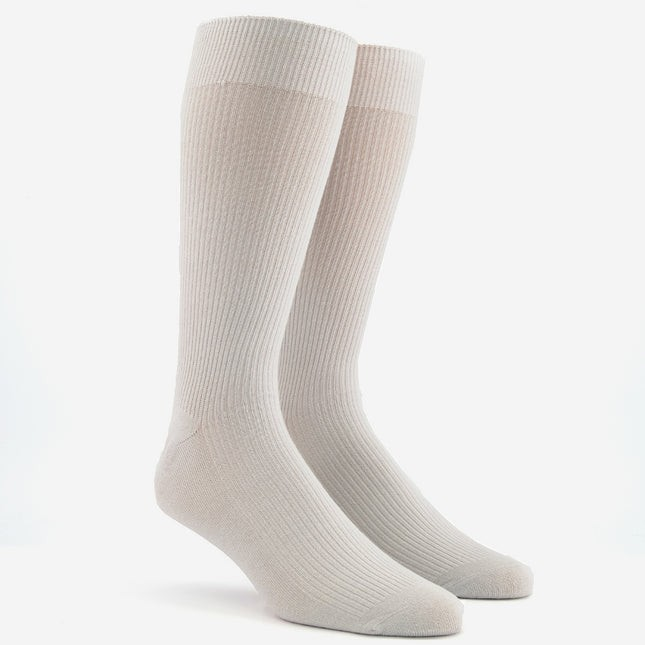 Ribbed Light Grey Dress Socks