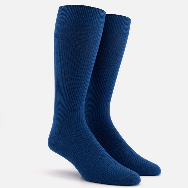 Ribbed Petrol Blue Dress Socks