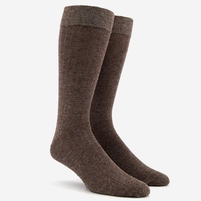 Wide Ribbed Heather Brown Dress Socks