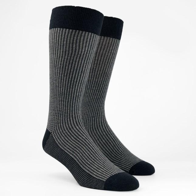 Micro Houndstooth Charcoal Dress Socks