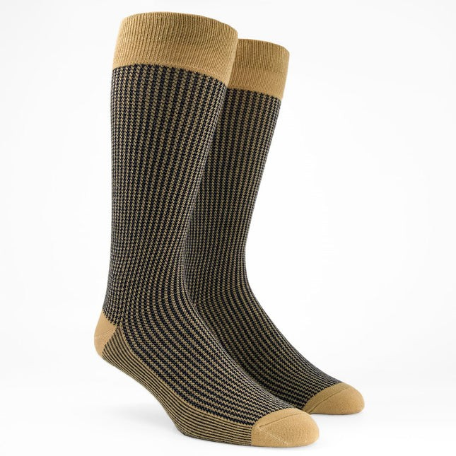 Micro Houndstooth Khaki Dress Socks