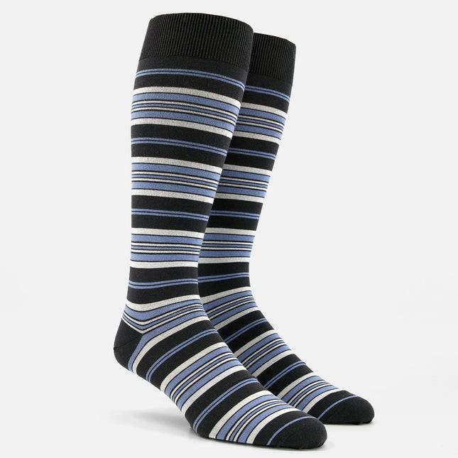 Variegated Stripe Light Blue Dress Socks
