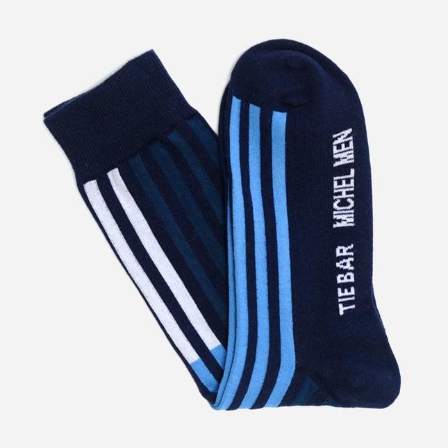 Tie Bar x Michel Men Modern Striped Navy Dress Sock