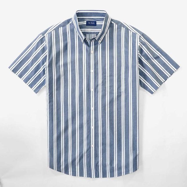 Awning Stripe Blue Short Sleeve Shirt