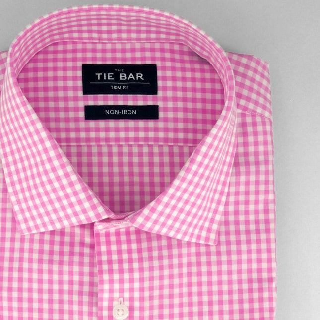 Gingham Bright Pink Non-Iron Dress Shirt
