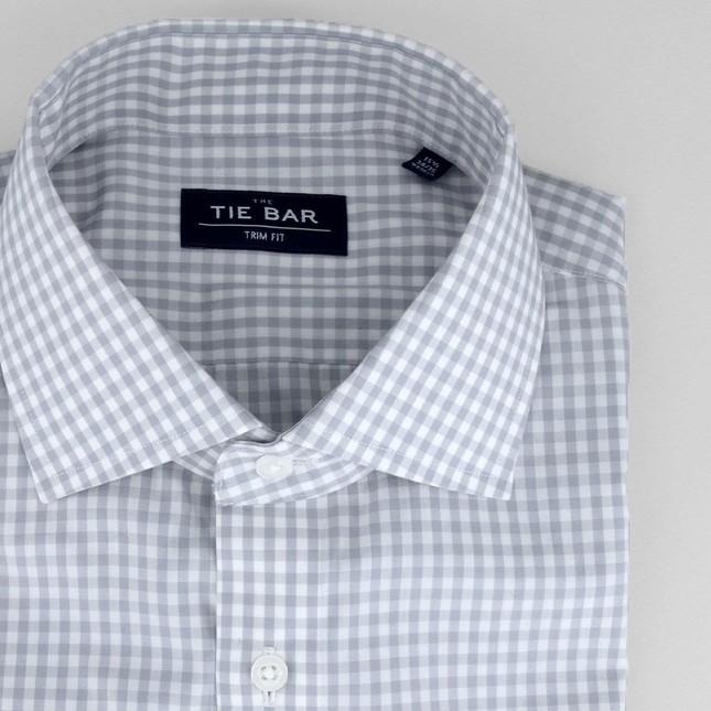 Gingham Grey Non-Iron Dress Shirt