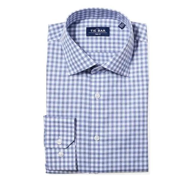 Heathered Gingham Slate Blue Non-Iron Dress Shirt
