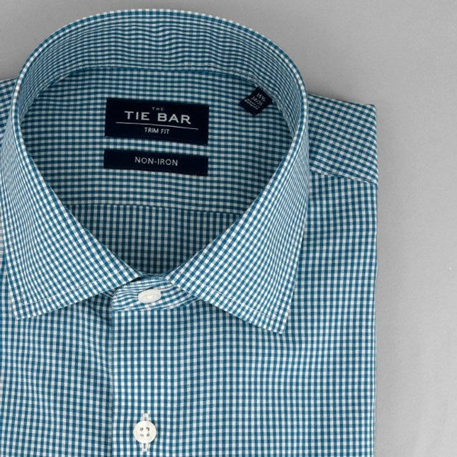 Petite Gingham Teal Non-Iron Dress Shirt