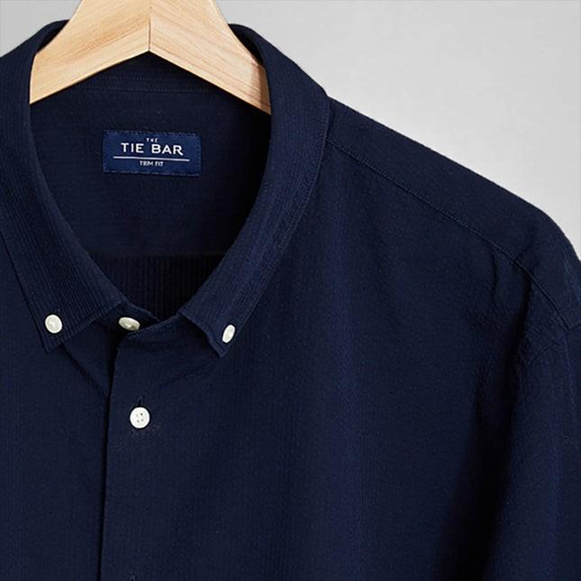 Seersucker Navy Dress Shirt