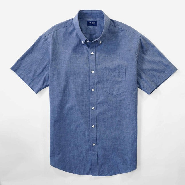 Solid Cotton Blue Short Sleeve Shirt