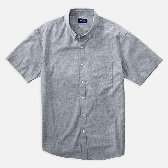 Solid Cotton Grey Short Sleeve Shirt