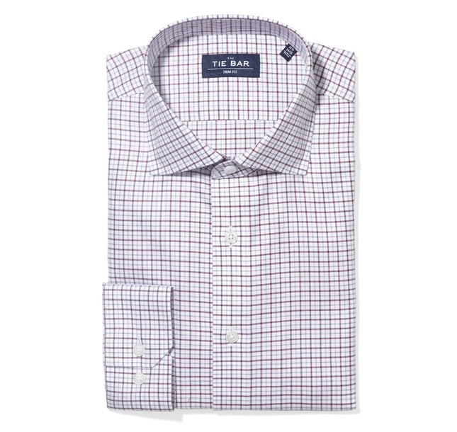 Twill Tattersall Burgundy Non-Iron Dress Shirt