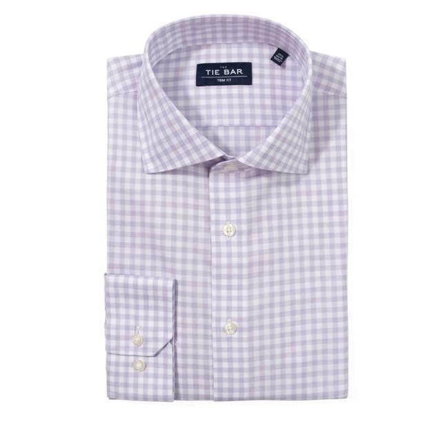 Heathered Gingham Lavender Non-Iron Dress Shirt