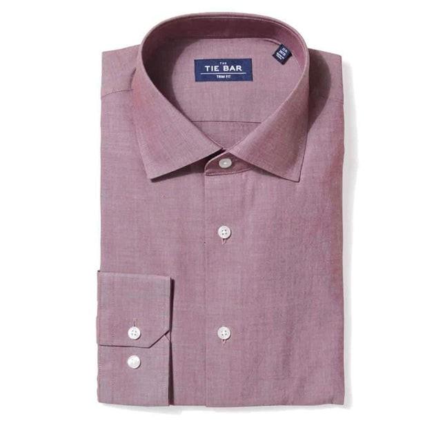 Polished Chambray Burgundy Dress Shirt