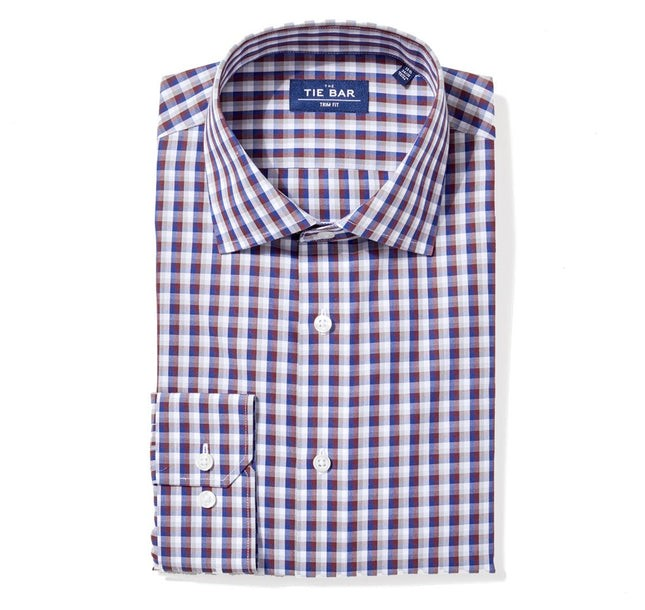 Faded Gingham Navy Non-Iron Dress Shirt