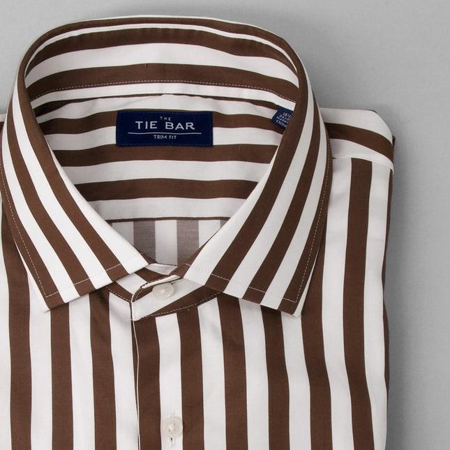 Bungalow Stripe Brown Dress Shirt