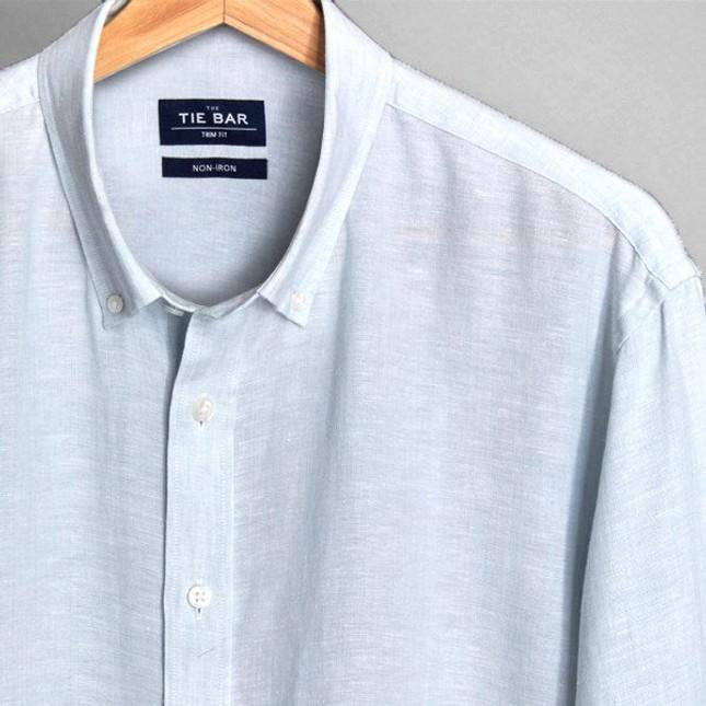Linen Seafoam Non-Iron Casual Shirt
