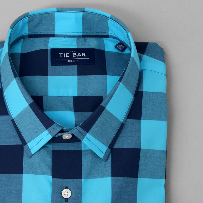 Buffalo Check Royal Blue Dress Shirt