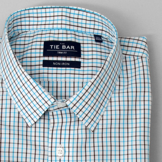 Business Check Aqua Non-Iron Dress Shirt