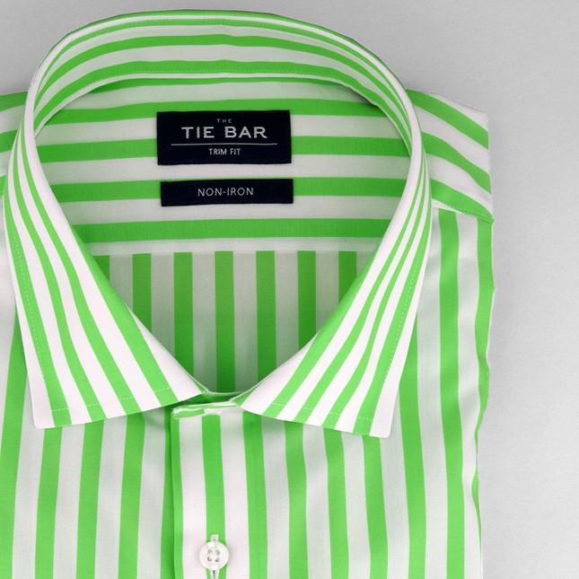 Cabana Stripe Lime Non-Iron Dress Shirt