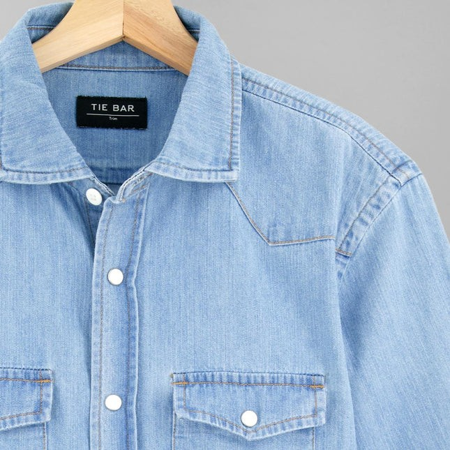 Western Denim Light Blue Casual Shirt
