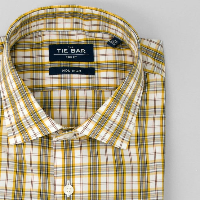 Dress Plaid Yellow Non-Iron Dress Shirt