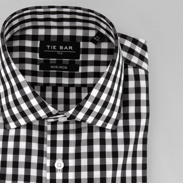Oversized Gingham Black Non-Iron Dress Shirt