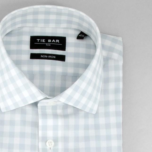 Oversized Gingham Ice Blue Non-Iron Dress Shirt
