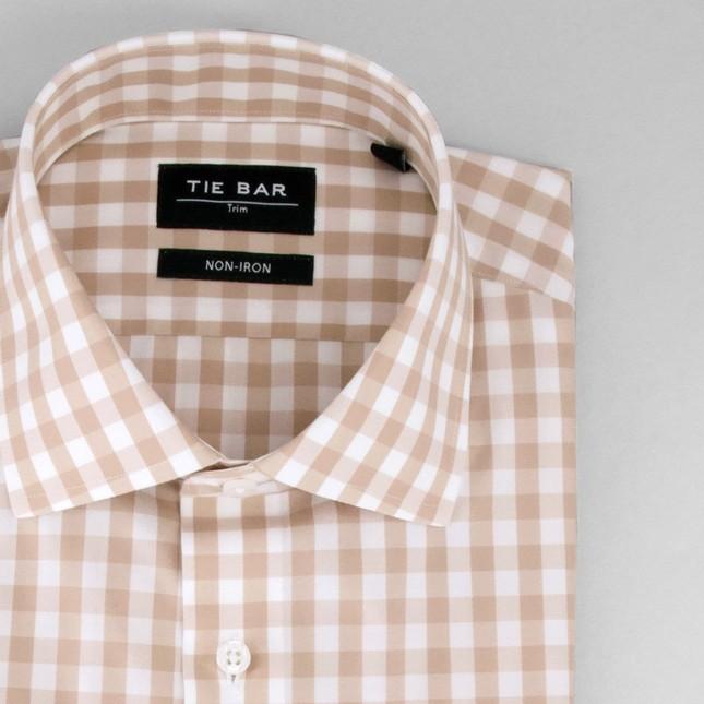 Oversized Gingham Khaki Non-Iron Dress Shirt