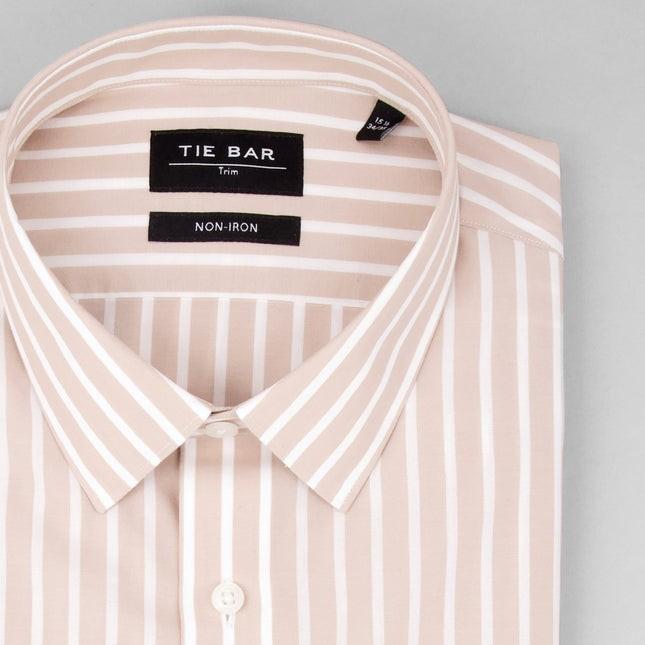 Reverse Stripe Khaki Non-Iron Dress Shirt
