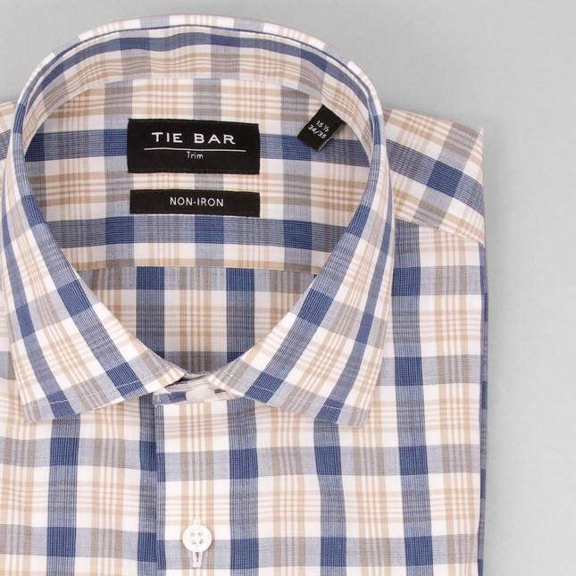 Slub Plaid Khaki Non-Iron Dress Shirt