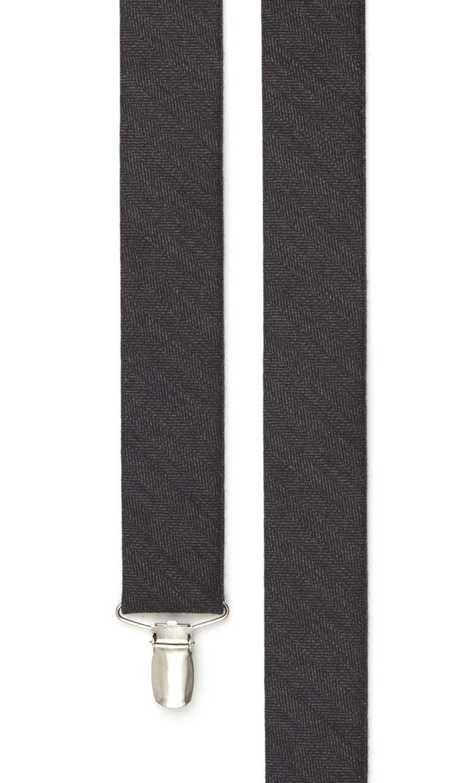 Wool Suiting Herringbone Black Suspender