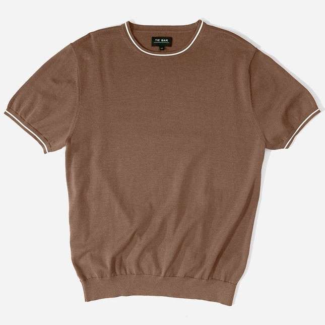 Tipped Cotton Crew Brown Sweater