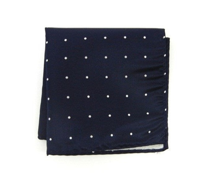 Satin Dot Classic Navy Pocket Square