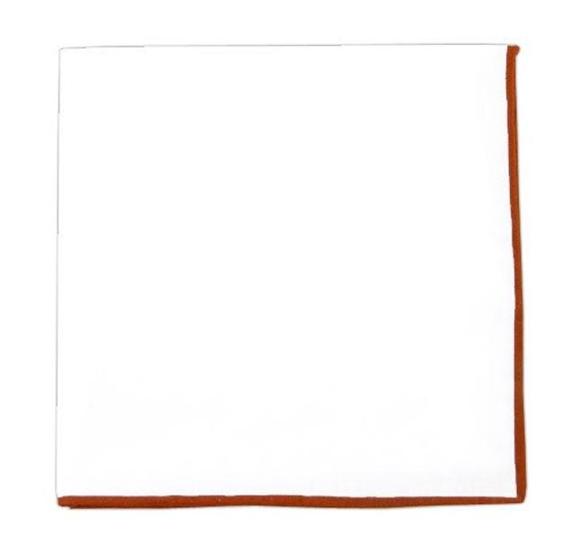 White Cotton With Border Burnt Orange Pocket Square