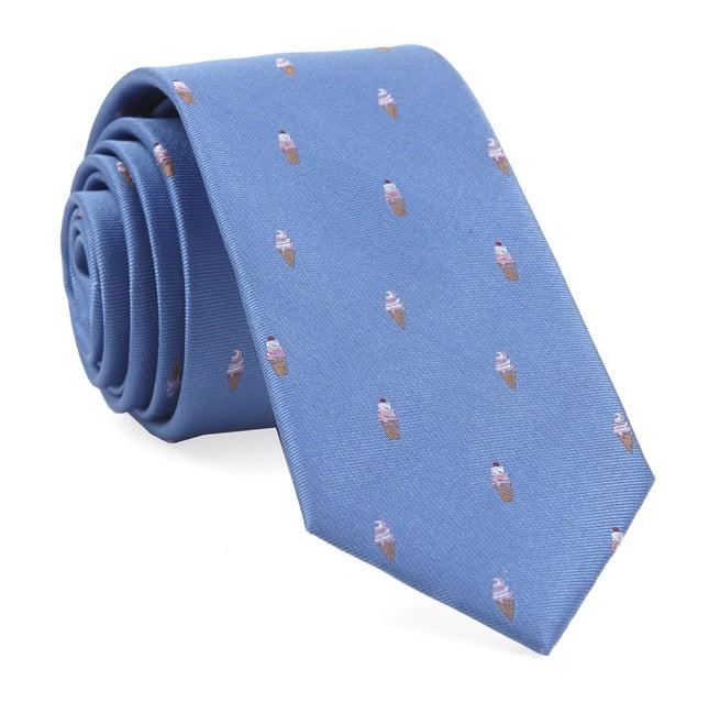 Ice Cream Cones Light Blue Tie