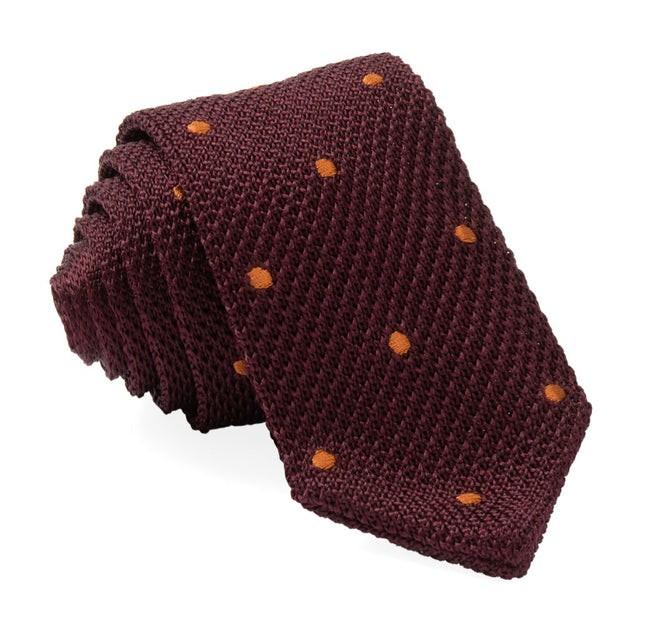 Pointed Tip Knit Polkas Burgundy Tie